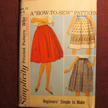SALE Uncut 1960's Simplicity Sewing Pattern, 5058! waist 23 Hip 32 Small/women's/Misses/Juniors/Simple Sew/Pleated Skirts/Full Flared Skirts