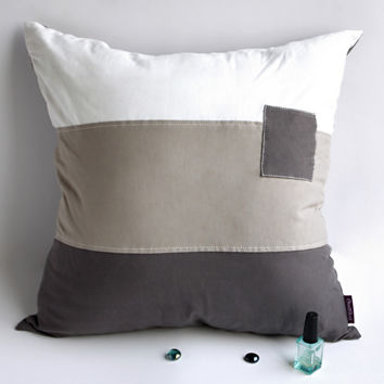 Onitiva Simple World Knitted Fabric Patch Work Pillow Cushion Floor Cushion in 19.7 by 19.7 inches