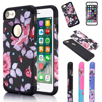 CreatValu Case For iPhone 6 6S Plus 7 8 Shockproof Rugged Hybrid Rubber Matte Hard Case Cover For Apple iPhone 7 Plus 8 Plus