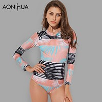 Rash Guards Vintage Print Long Sleeve Swimwear