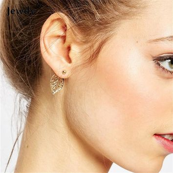 Sunshine 2016 Vintage Jewelry Exquisite Gold Color Leaf Earrings Modern Beautiful Feather Stud Earrings for Women wedding