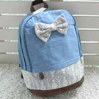 Fresh lace handbag backpack schoolbag