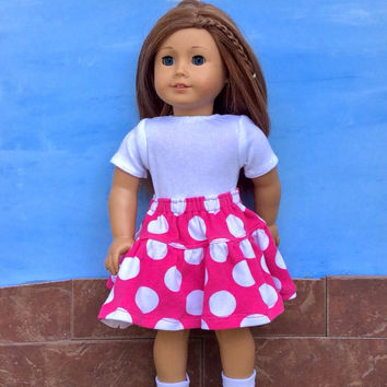 18 Inch Doll Clothes, Pink Polka Dot Doll Skirt with White Leotard, fits American Girl Dolls, Upcycled, Summer Doll Clothes