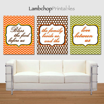 Bless the Food before us, the family beside us and the love between us, Set of 3, Thanksgiving Decor, Thanksgiving prayer, 8x10, printable