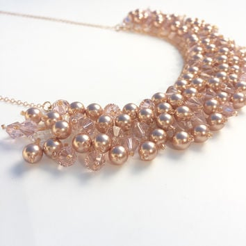 Wow! Rose Gold Statement Necklace - Swarovski