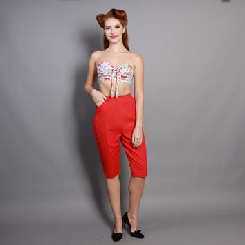 60s RED Pinup PANTS / Bright Cotton / Rockabilly Capris, xs