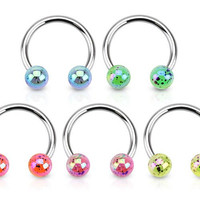 "Pack of 5 - Horseshoe Rings Metallic Splash Acrylic Balls (16g) 3/8"" Nipple, Lip, Eyebrow, Belly, Earring, Septum."