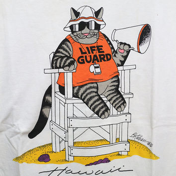 Vintage KLIBAN Crazy Shirt Life Guard Picnic Beach Hawaii Surfing Aloha Funny Cat Gray T shirt M
