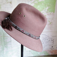 Vintage Boho Brown Wool Felt Fedora with Horse Hair Weaved Hat Band