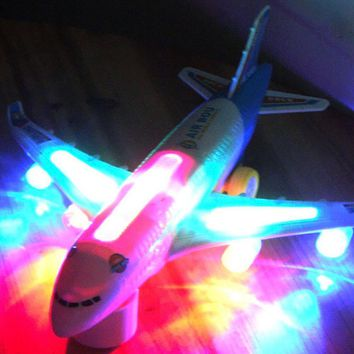 Blue Light Airplane Toy Universal Airbus A380 Plane Model Flashing Sound Electric Children Kids Xmas Gifts Steering