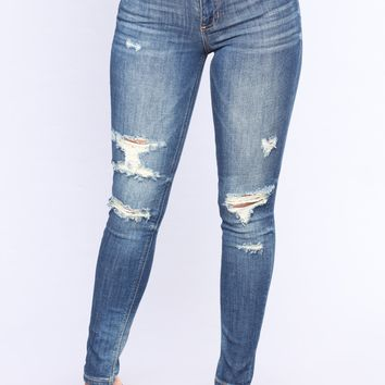 Not Your Boo Skinny Jeans - Medium Blue Wash
