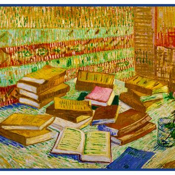 Parisian Novels Books Still Life by Vincent Van Gogh Counted Cross Stitch or Counted Needlepoint Pattern