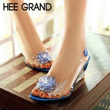 New Summer Crystal Shoes Woman Sweet And Comfortable Wedge Sandals Fish Head Women Shoes	XWZ831