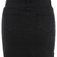 Button Pocket Raw Hem Denim Skirt -SheIn(Sheinside)