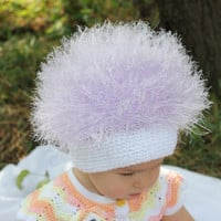 Baby hats / Cabbage Patch Kids Hat  / Beanie Wig  / Children  fuzzy hat  / Baby costume / Halloween Costume / Lilac