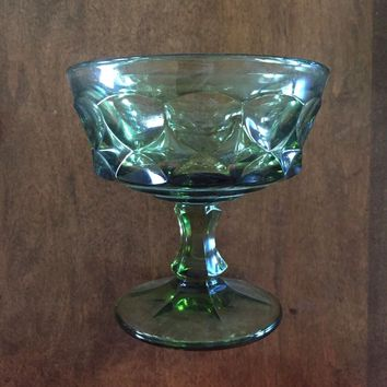 Set of 5 - Vintage Green Pedestal Replacement Dessert Dishes Cups Glasses EUC