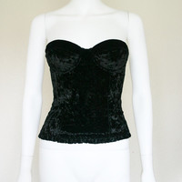 90s BLACK Crush Velvet BUSTIER / 90's goth revival vamp top