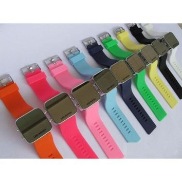 Sports LED Student Jelly Watch Mirror