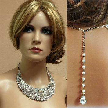 Bridal jewelry--Bridal back drop bib necklace earrings , vintage inspired rhinestone pearl necklace statement, wedding jewelry set