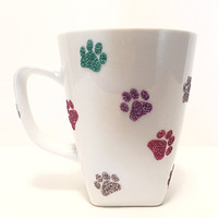 Glitter Coffee Mug - Paw Prints - Coffee Cup - Animal Print - Square Coffee Mug