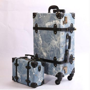 2018 luggage cowboy material suitcase set fashion design 4 wheels high quality free shipping rolling spinner high quanlity