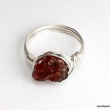 Raw Garnet Ring, Natural Rough Crystal Gemstone Silver Wire Wrap Ring, Burgundy Boho Ring, Bohemian Wrap Stone Ring, Rustic Bridesmaid Ring