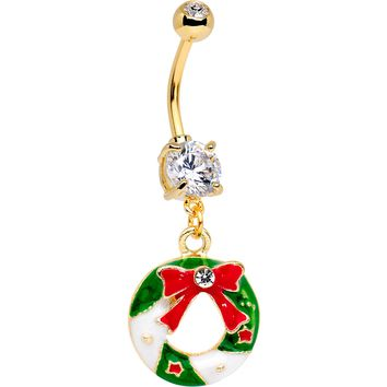 Clear CZ Gem Gold Tone Anodized Christmas Wreath Dangle Belly Ring
