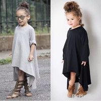 Kids Child Princess Long Sleeve Clothing Party Asymmetric Casual Girl Dress New [7673576582]