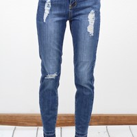 Stone Washed + Distressed Hem Skinny Jeans {Md. Wash}