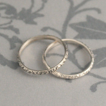 Rococo in the Disco--Thin Sterling Silver Swirl Patterned Wedding Bands or Stacking Rings--Made in YOUR size
