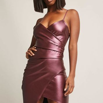 Coated Metallic Tulip Dress