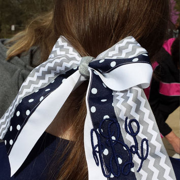 Cheer Bow, Softball Bow, Sports Bow -(Navy, Gray and White) custom made and can be embroidered with initials or name.