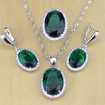 Green Cubic Zirconia White Zircon 925 Sterling Silver Jewelry Sets For Women Wedding Earrings/Pendant/Necklace/Rings