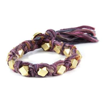 Multi Purple Vintage Ribbon Large Faceted Beads Knotted Bracelet