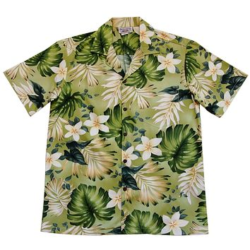 Amazon Green Hawaiian Cotton Aloha Sport Shirt