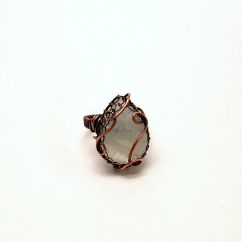 Rainbow Moonstone Teardrop Copper Ring, Wire Wrapped Statement Ring,