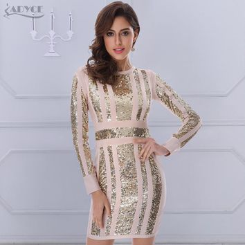 Winter Dress Women Runway Bandage Dress Long Sleeve O-Neck Sequins Bodycon Vestido Sexy Celebrity Evening Party Dress