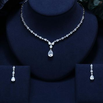 JANEKELLY CLEAR BEST QUALITY BRILLIANT CRYSTAL ZIRCON EARRINGS AND NECKLACE BRIDAL JEWELRY SET WEDDING DRESS ACCESSARIES