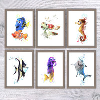 Finding Nemo Disney, Set of 6, Squirt, Sheldon, Gurgle, Gill, Bruce, Dory, Nursery poster, Disney art, Kids room, finding nemo nursery, V31