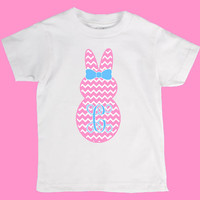 Easter Chevron Peep Bunny w/ Bow and Monogram Pink Blue Onesuit or Kid's T-Shirt - 2 Color