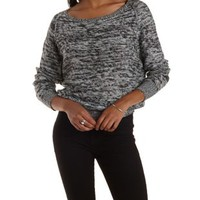 Combo Raglan Sleeve Pullover Sweater by Charlotte Russe