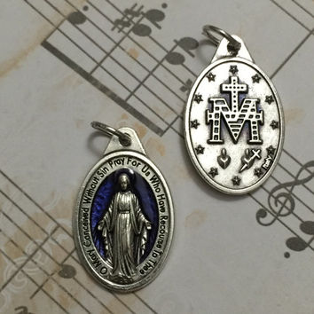 Blue Enamel Oval Miraculous Medal Pendant Our Lady of Grace Virgin Mary Blessed Mother  Medal Catholic Jewelry Made in Italy