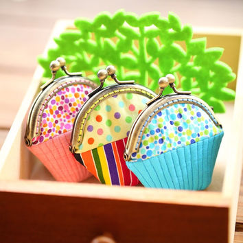 Party colors cupcake mini coin purse