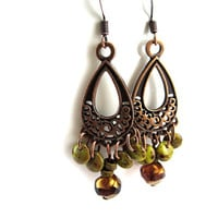 Olive Green and Copper Chandelier Earrings - Bohemian Teardrop Earrings - Czech Glass Lentil Beads