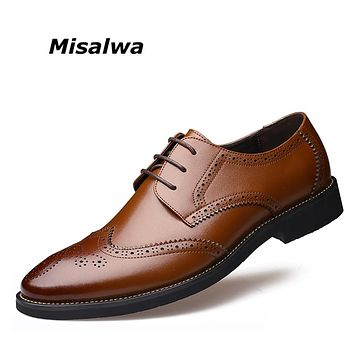 Misalwa New Arrival Italian Men Brogue Shoes Men Formal Dress Oxfords British Men Leather Shoes