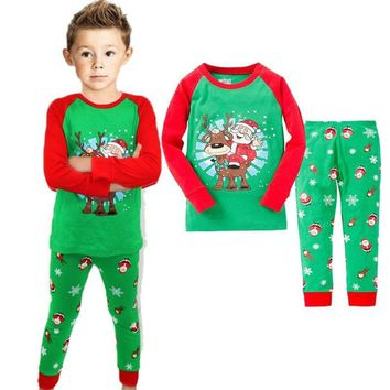 Christmas Toddler Baby Boy Kid Santa Claus Sleepwear Pajama Set Size 2T-7