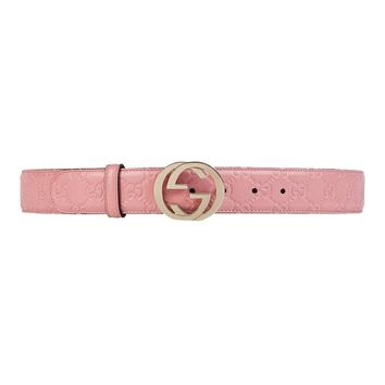 GUCCI Women's Signature Soft Pink Belt 370543 Size: 100/40 NWT