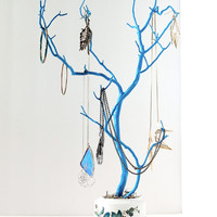 """Jewelry Holder Organizer Tree Caribbean Blue White Peacock feather 22"""" painted tabletop tree necklace hanger bedroom decor for her"""