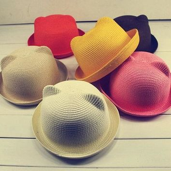 Fashion Ears Straw Hats Baby Hats For Girls Bucket Hat Boys Cap Children Sun Summer Cap Kids Solid Beach Panama Caps