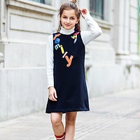 Kids Dresses for Girls Clothes Letter Embroidered Winter Toddler Girl Dresses Princess Children Clothing